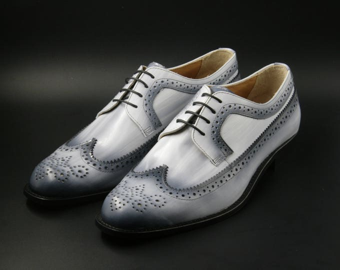 Man shoe leather derby hand made in Italy