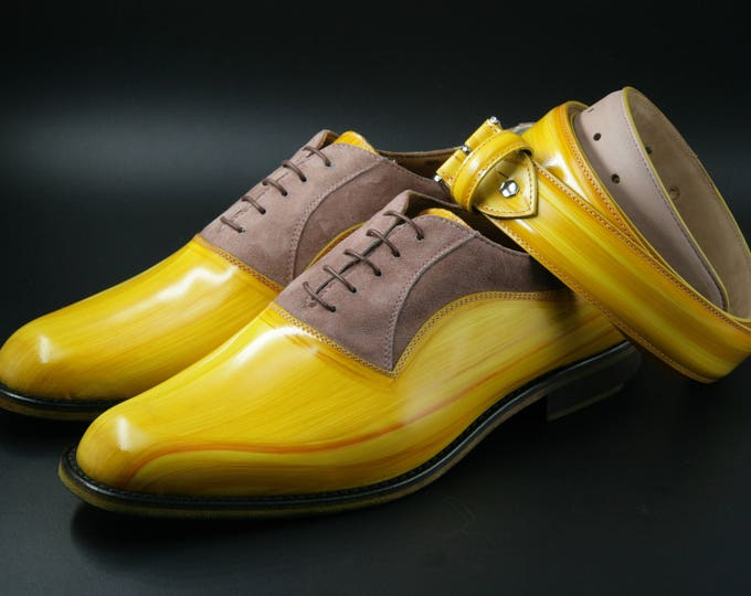 Man shoe leather and suede yellow color hand made in Italy