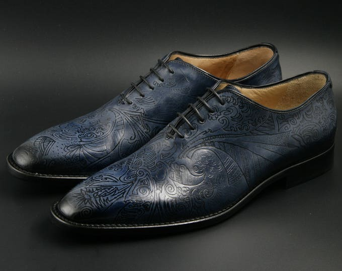 Featured listing image: Leather men shoes, navy blue, Pyrograph, Oxford, hand painted, made in Italy, personalized