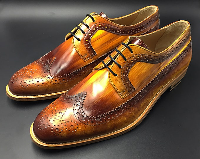 Men shoes leather, derby, hand made in Italy