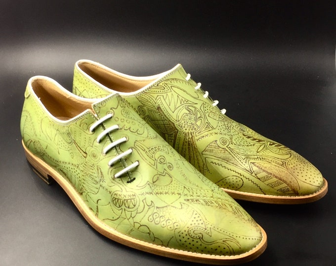 Man shoe leather olive green hand made in Italy