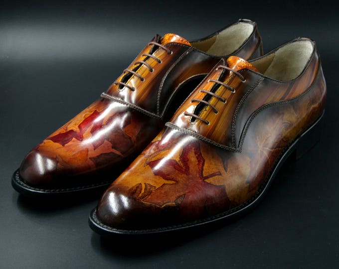 Man shoe leather hand painted and hand made in Italy