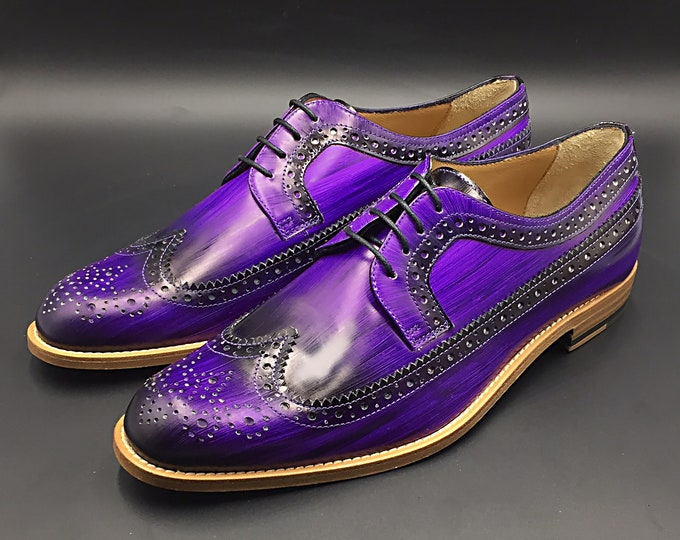 Men shoes leather, purple color, derby, hand made in Italy