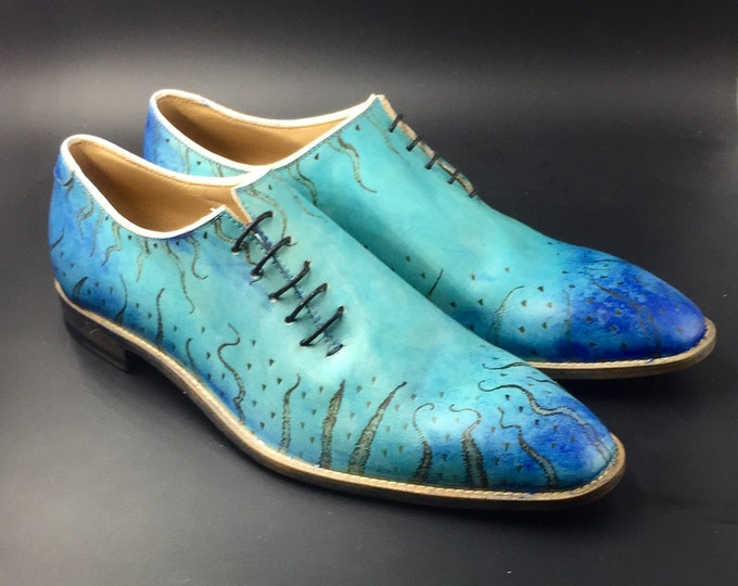 Featured listing image: Leather men shoes, sea water, pyrograph, Oxford, hand painted, made in Italy