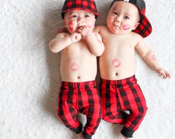 a771a0907 unisex baby buffalo plaid pants, toddler boy or girl red plaid leggings,  red buffalo plaid harem pants, trendy baby clothes, baby gift
