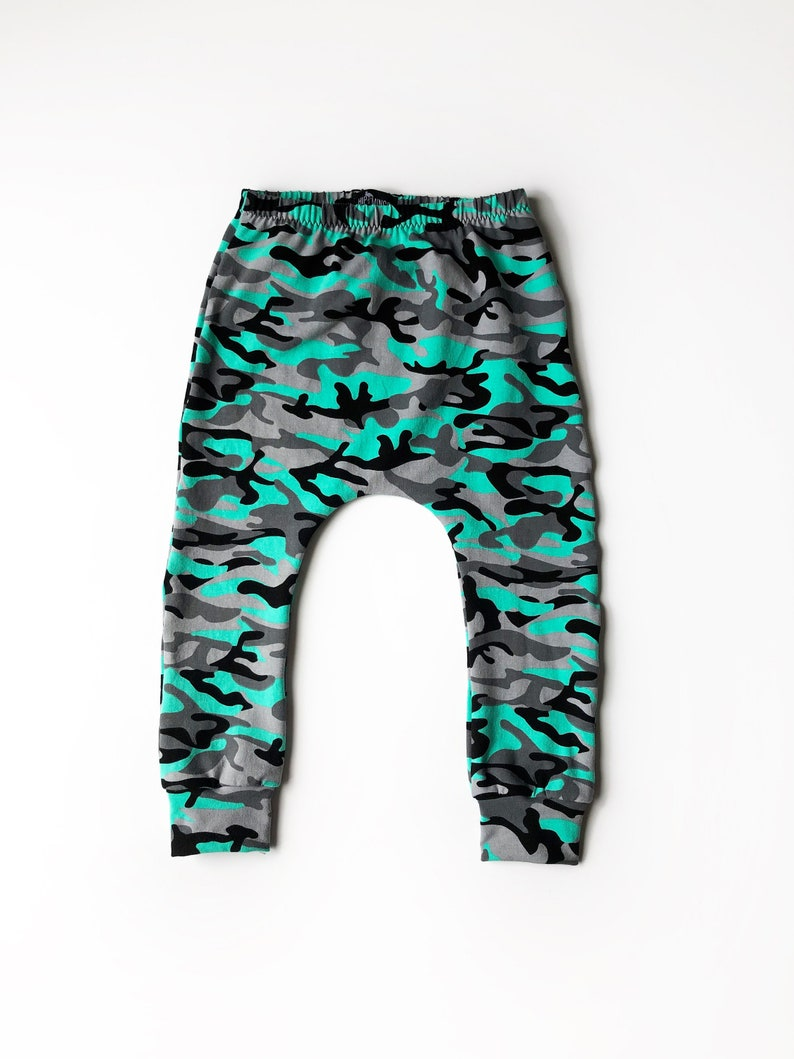 cool baby boy pants toddler boy or girl mint camouflage leggings trendy baby clothes baby gift unisex baby camo harem pants