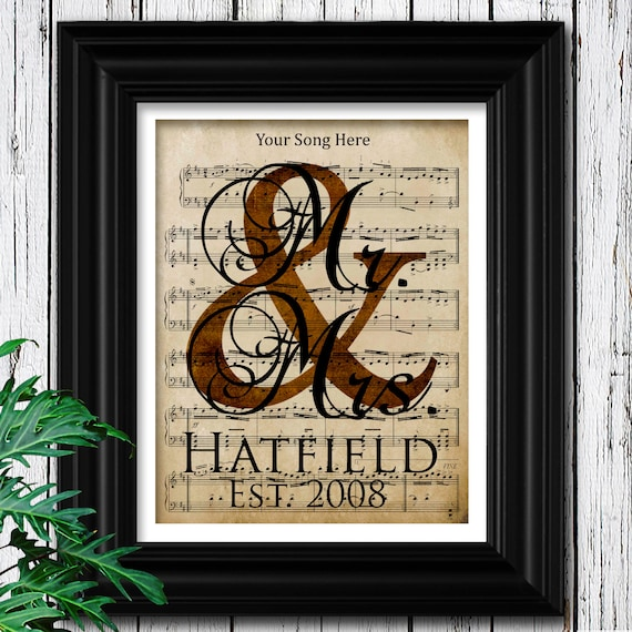 Brass Gifts For Wedding Anniversary: 8th ANNIVERSARY BRONZE Gift Custom Sheet Music Art 100%