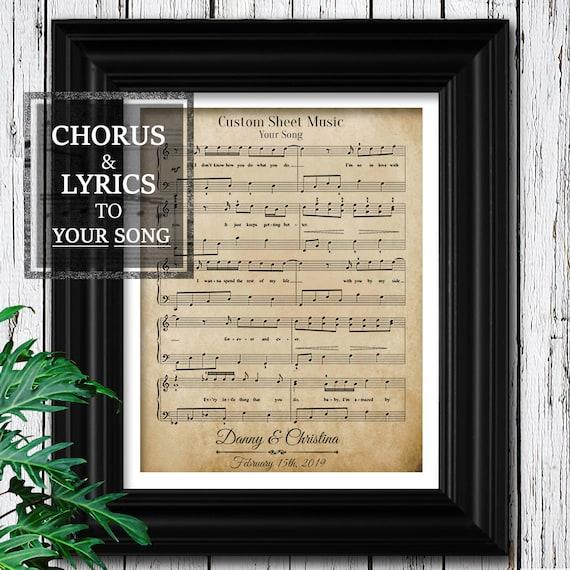 1st Anniversary Gift For Him Velvet Sheet Music To Your Etsy