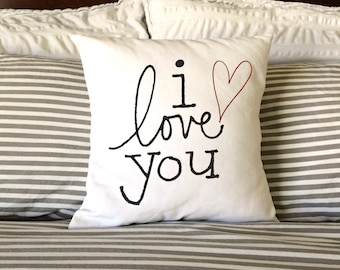 Valentine Pillow, Burlap Pillow, I Love You Pillow, Decorative Pillow, Wedding Pillow, Nursery Pillow, Fiance Pillow, Anniversary Pillow