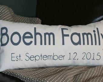 Date Pillow, Personalized Pillow, Custom Pillow, Family Pillow, Wedding Date Pillow, Anniversary Gift, Bridal Shower Gift, Lumbar Pillow