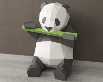 Panda Papercraft DIY Bear Gift 3D Origami Sitting Digital Template Paper Sculpture