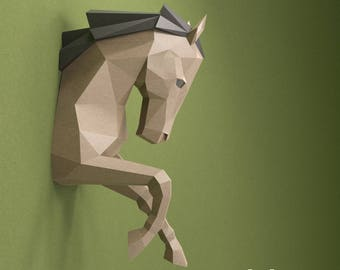 Horse Paper Head, PDF Papercraft Horse DIY Gift, 3D Papercraft Trophy, Horse Origami, DIY Horse Paper Sculpture, Low Polygon Art, Wall Mount