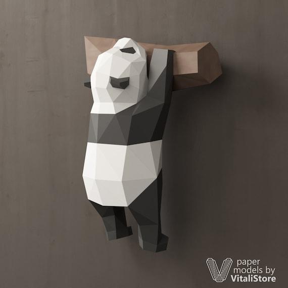 3d Papercraft Panda 3d Origami Panda Diy Gift Panda Wall Etsy