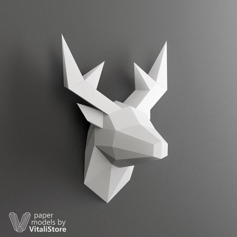 Papercraft Deer, Deer Mini, Deer Trophy, 3D Papercraft, Low Poly Deer, Faux  Taxidermy, DIY Gift, 3D Origami, Paper Animals, Deer Wall Decor