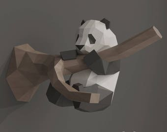 DIY Papercraft Panda, Paper Craft Panda, DIY Gift Kit, Wall Paper Sculpture, Panda Gift, 3D Origami, 3D Paper Wall Decor, PDF Kit Template