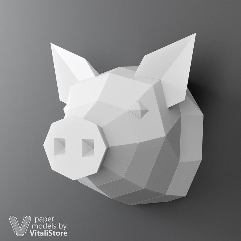 Diy Pig Head DIY Papercraft Pig Trophy Pig Wall Decor Low Poly Model DIY Gift Paper Craft Piggy 3D Papercraft Pig Faux Taxidermy Pig