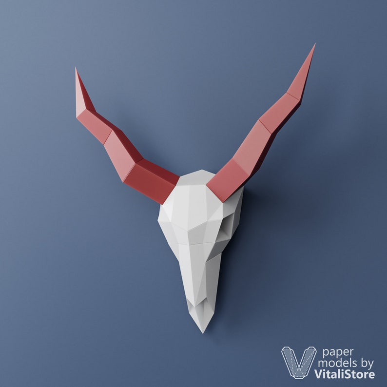 DIY Gift Papercraft 3D Skull Low Poly Skull Goat Skull Faux Taxidermy PDF Template Skull 3D Papercraft Skull PDF Kit 3D Origami Horns