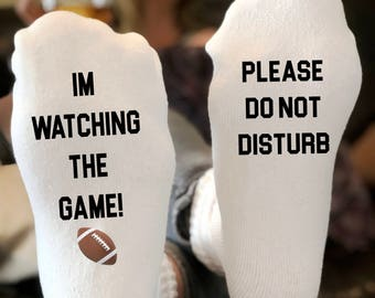 23512f90aad6 If you can read i'm watching the game socks | Please Do Not Disturb | If  you can read this socks | funny christmas gift | Sports Socks