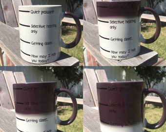 Color changing mug-Quiet Peasant-Now you may speak mug-funny gift for dad-shh mug-fill line mug -funny coffee mug