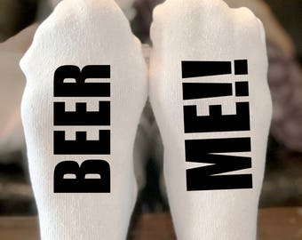 If you can read this socks | Beer Me Socks | Mens Socks | bring me a cold beer | Stocking Stuffer | Bring Me a Beer Please