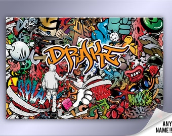 8a7d0cc807c4 Personalised Graffiti Abstract Canvas