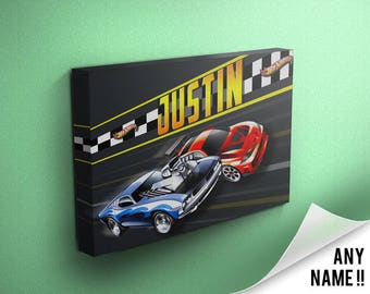 b0e745f5769 Personalised Hot Wheels inspired childrens name canvas