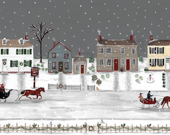print of historic Dennisville, New Jersey at Christmas ca. 1900