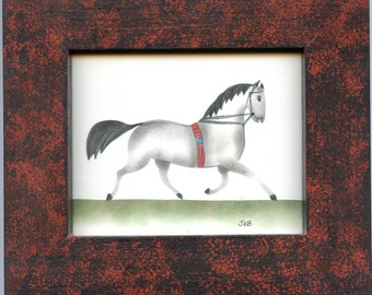 Horse Theorem Painting with Decorative Frame