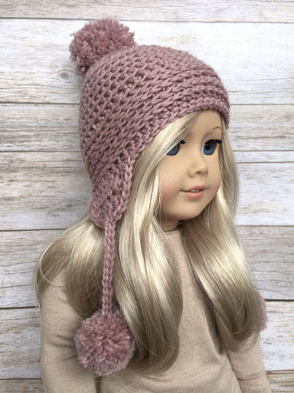 Diy Crochet Pattern 18 Inch Doll Pom Pom Earflap Hat Pdf 24 Etsy