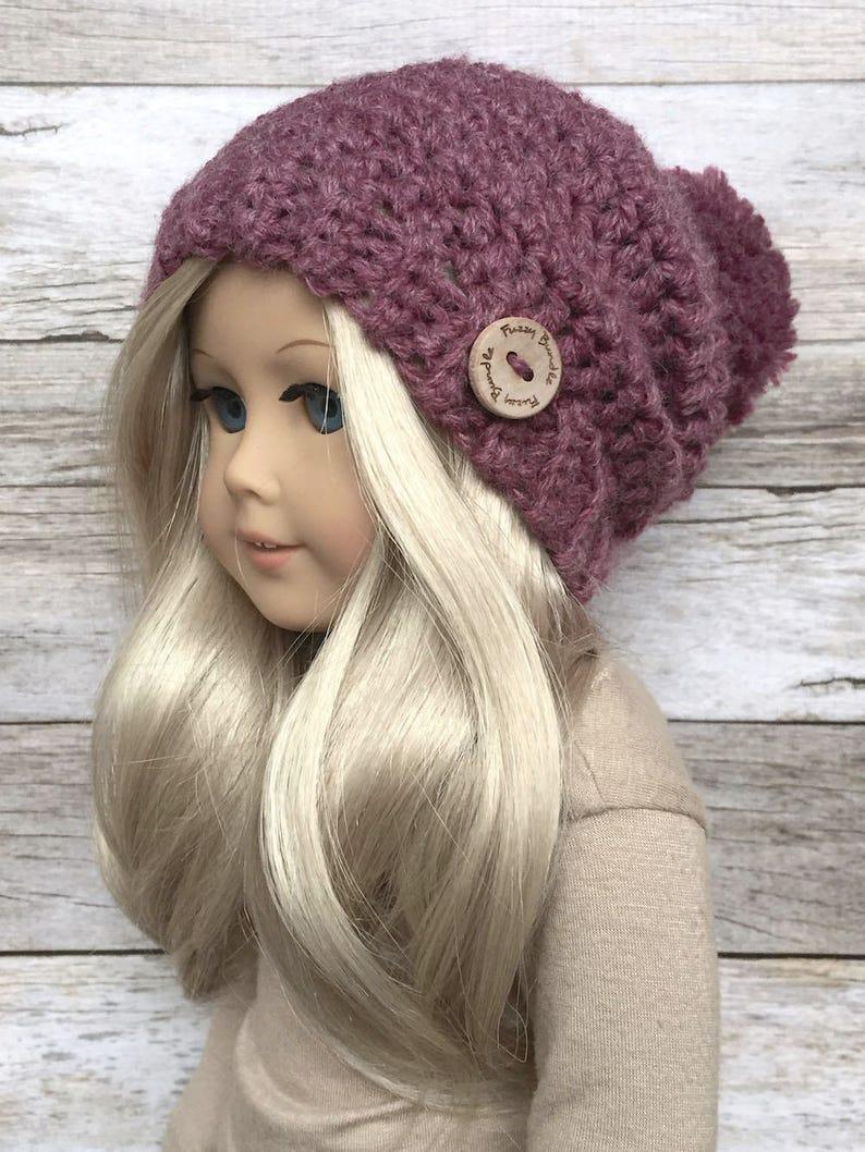 Diy Crochet Pattern 18 Inch Doll Slouchy Pom Beaniehat Pdf Etsy