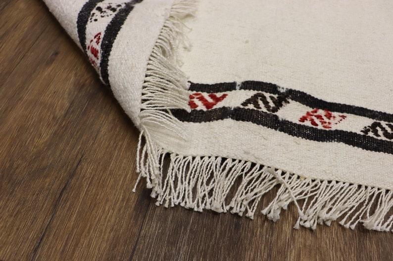 Home Floor Decor Turkish Rug Woven Kilim Rug Scandinavian Style Rug 6.7x4.2 Feet 204x130 Cm Striped Cotton Kilim Rug Striped Weave
