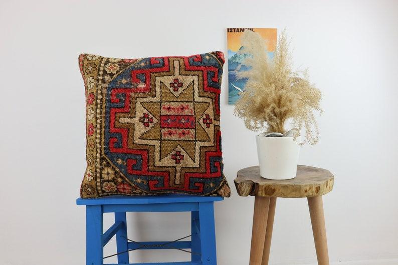 Cushion Cover Decorative Pillow Handwoven Pillow 16x16\u0130nches Carpet Pillow Turkish Carpet Pillow Carpet Cushion Cover Bohemian,