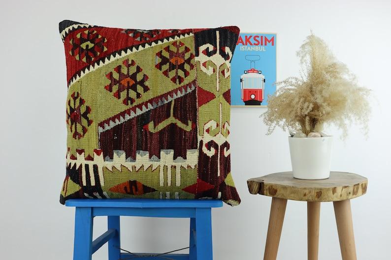 Colorful Pillow Cover Kilim Pillow 20x20inches 50x50cm Cushion Cover Pillow Cover Handmade Turkish Kilim Pillow Bohemian Vintage