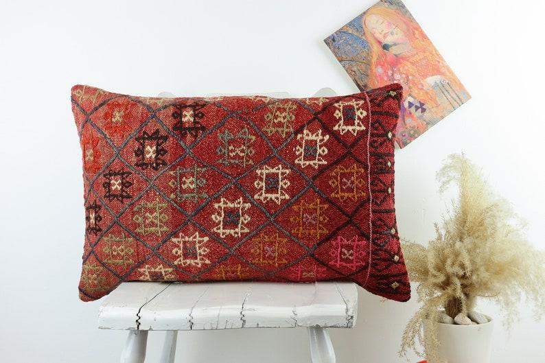 Lumbar Kilim Pillow 16x24inch 40x60cm Decorative Pillow Handwoven Pillow Cover  Turkish Pillow Vintage Pillow Bohemian Pillow Sofa Pillow