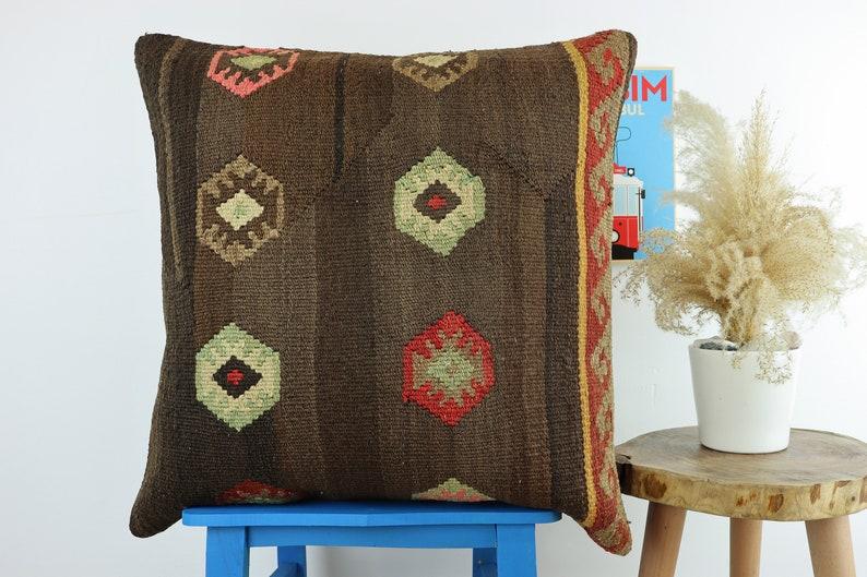 Cushion Cover Pillow Cover Handmade Turkish Kilim Pillow Bohemian Vintage Kilim Pillow 24x24inches 60x60cm Colorful Pillow Cover