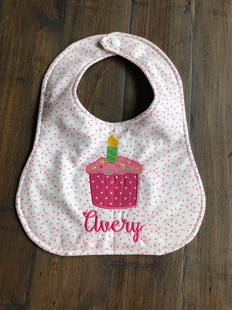 Girl 1st Birthday Personalized Bib Personalized for Girl Monogrammed Cupcake Bib Personalized Bib for Smash Cake Event