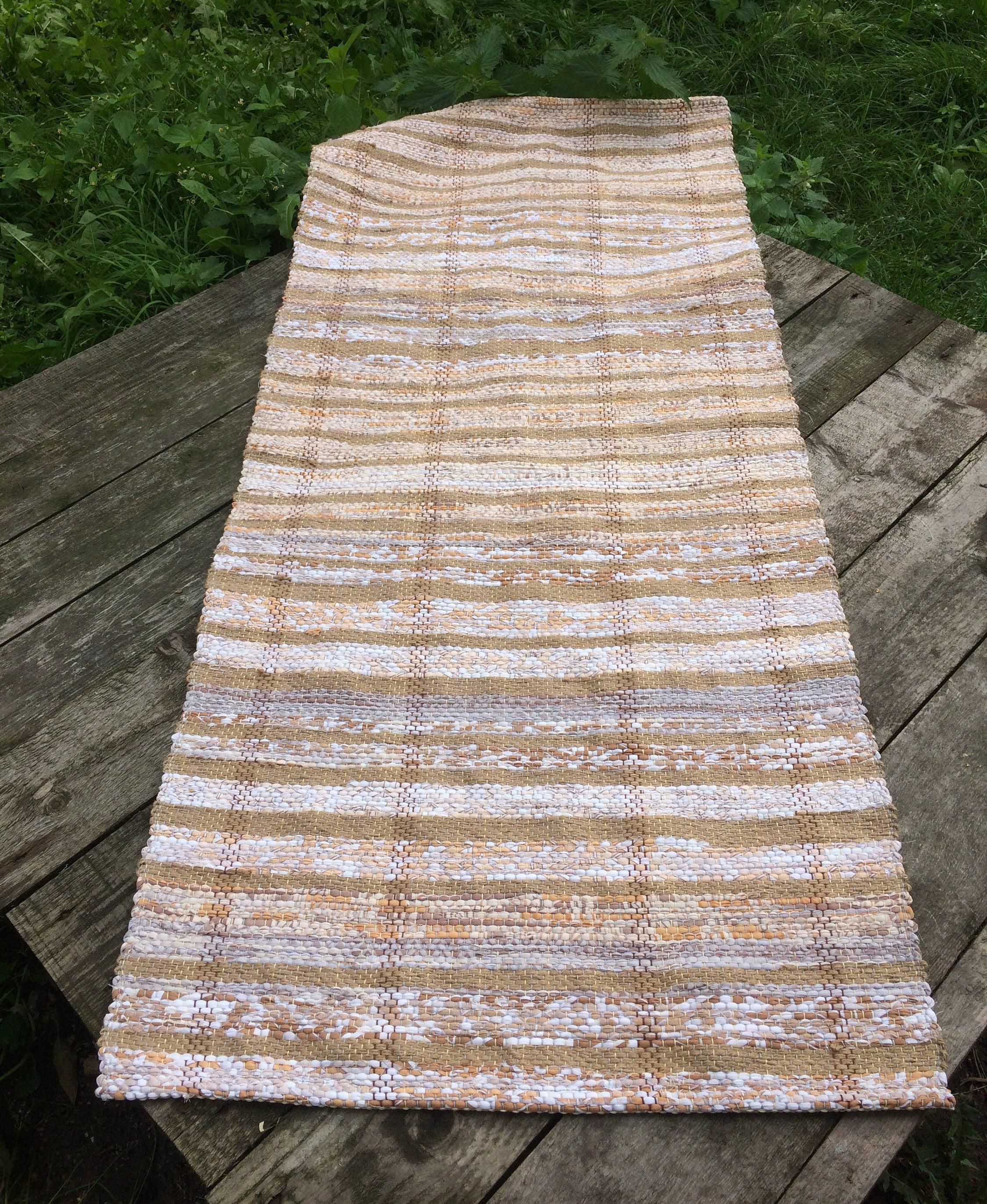 Jute Rug Swedish Rag Rug Scandinavian Hallway Runner Hand Woven Carpet