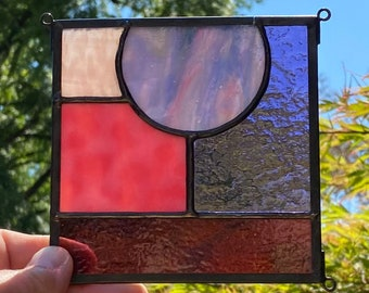 """FREE SHIPPING Abstract Square Stained Glass Sun Catcher 5"""" x 5"""" - Purple"""