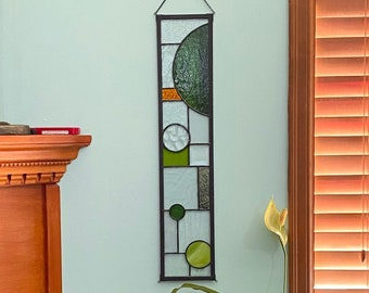 """FREE SHIPPING Green with Gold Color Block Abstract Stained Glass Suncatcher Window Display 5"""" x 24"""""""