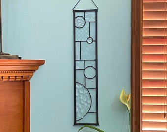 """FREE SHIPPING Textured Clear with Black Abstract Stained Glass Suncatcher Window Display 5"""" x 24"""""""