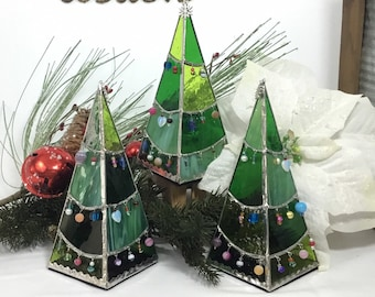 Beaded Stained Glass Christmas Tree Tea Light Stand - 3 sizes Green or White/Flocked