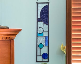 """FREE SHIPPING Blue Color Block Abstract Stained Glass Suncatcher Window Display 5"""" x 24"""""""