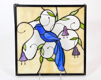 Blue Bird Stained Glass Window