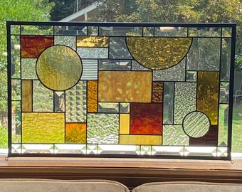 """Stained Glass Privacy Window Amber Browns and Clear Textured and Beveled Glass  - 12.5"""" x 20.5"""""""
