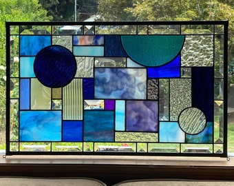 """Stained Glass Privacy Window Blue Textured and Beveled Glass  - 12.5"""" x 20.5"""""""