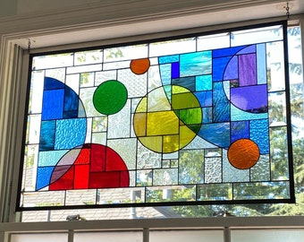 """Large Stained Glass Privacy Window with Red Yellow Blue Green Orange Yellow and Clear Textured and Beveled Glass - 21"""" x 33"""""""