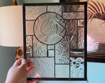 Textured Clear with Black Abstract Stained Glass Suncatcher Window Display