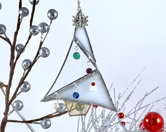 White Stained Glass Christmas Tree Ornament - also available in Red & Green