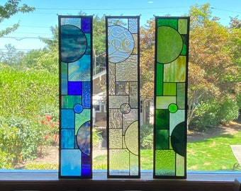 """FREE SHIPPING Abstract Color Block Side Light Stained Glass Suncatcher Window Display 5"""" x 24"""" - Blue, Green, Clear"""