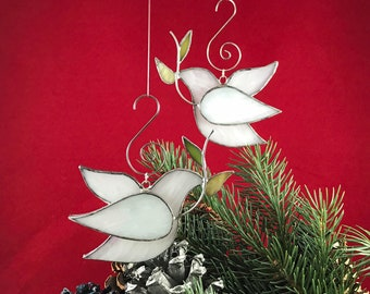 Peace Dove Stained Glass Ornament - White/Clear Textured Weddings Christenings Christmas Holidays Confirmation Suncatcher